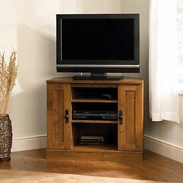 sauder harvest mill corner stand for tvs up to 35 abbey oak