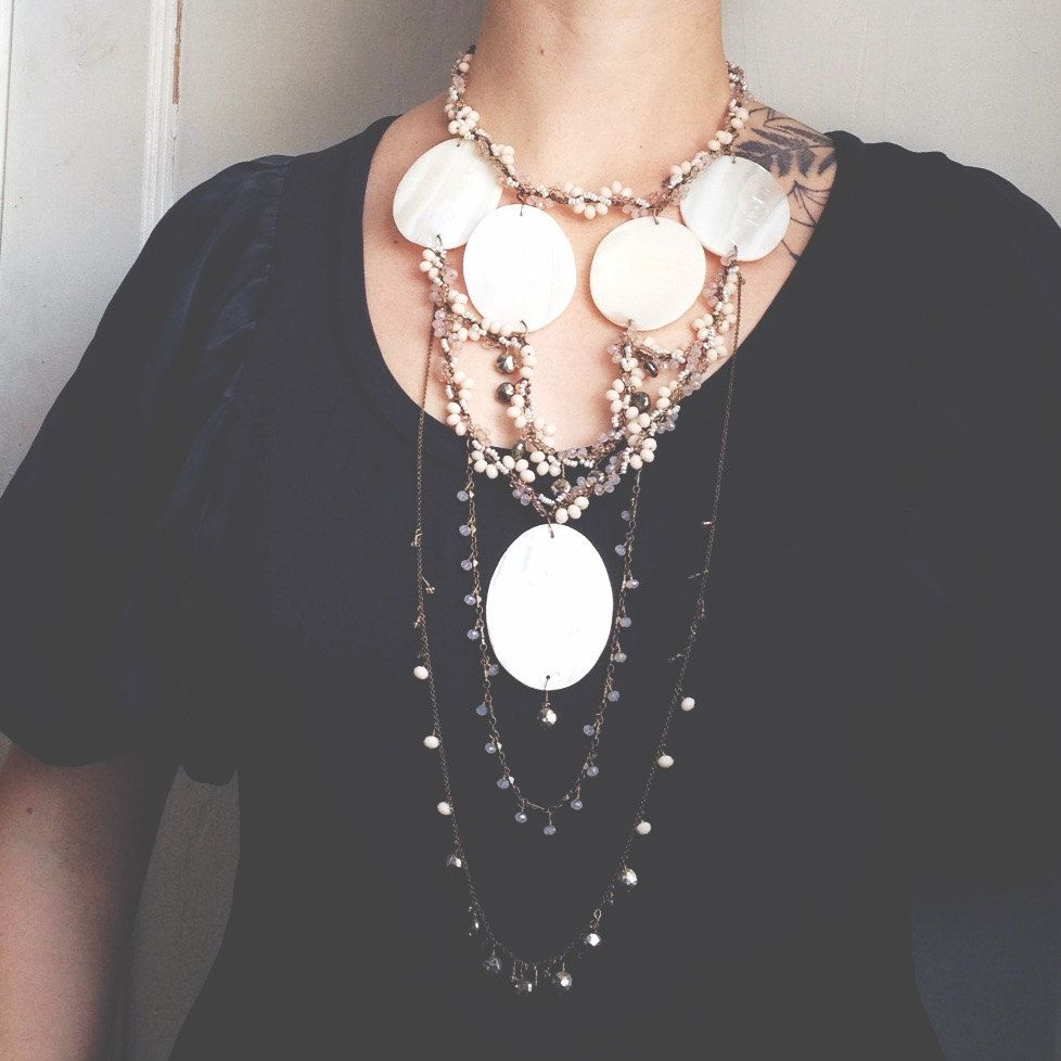 PearlGODDESS- Mother of Pearl, Pyrite, Crystals, and Freshwater Pearl Multistrand Statement Bohemian Necklace by QuilJewelry on Etsy