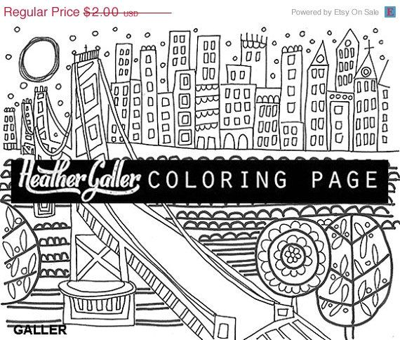 50 Off Golden Gate Bridge San Francisco Coloring Book Page By