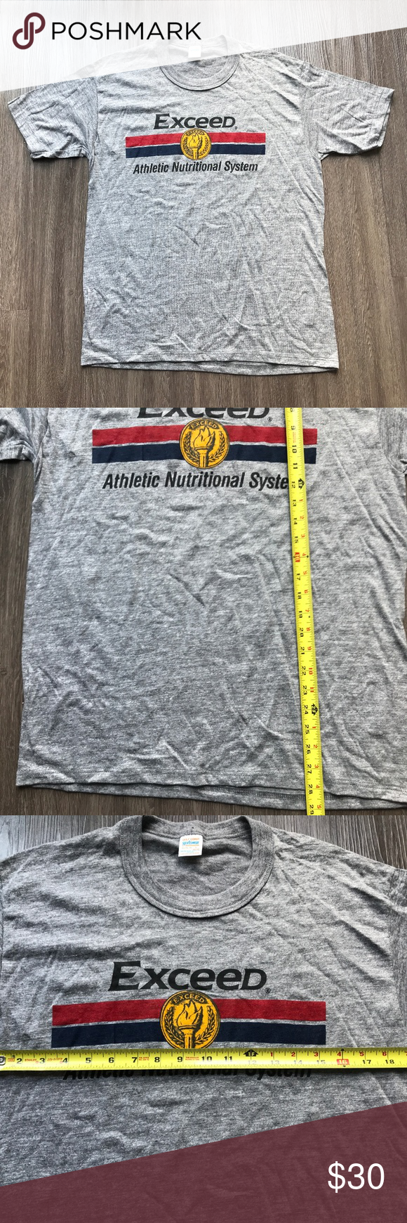 Vintage 80s Exceed Athletic Nutritional Tshirt Up for Sale is a Vtg 80s Deadstock Exceed Athletic Nutritional System T-Shirt USA Gray     Item Condition:    Excellent: Excellent condition has been previously worn and have only very slight wash wear. No flaws. Comes From A Pet/Smoke Free Home!  Size L     All items will ship within 1 business day via USPS with tracking   Please feel free to ask questions you may have.    Inventory Ae021 Shirts Tees - Short Sleeve #athletenutrition