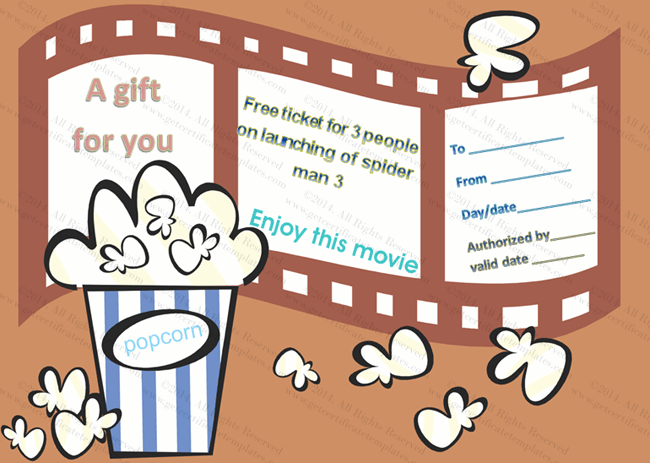 Movie Tickets Gift Certificate Template – Movie Ticket Template for Word
