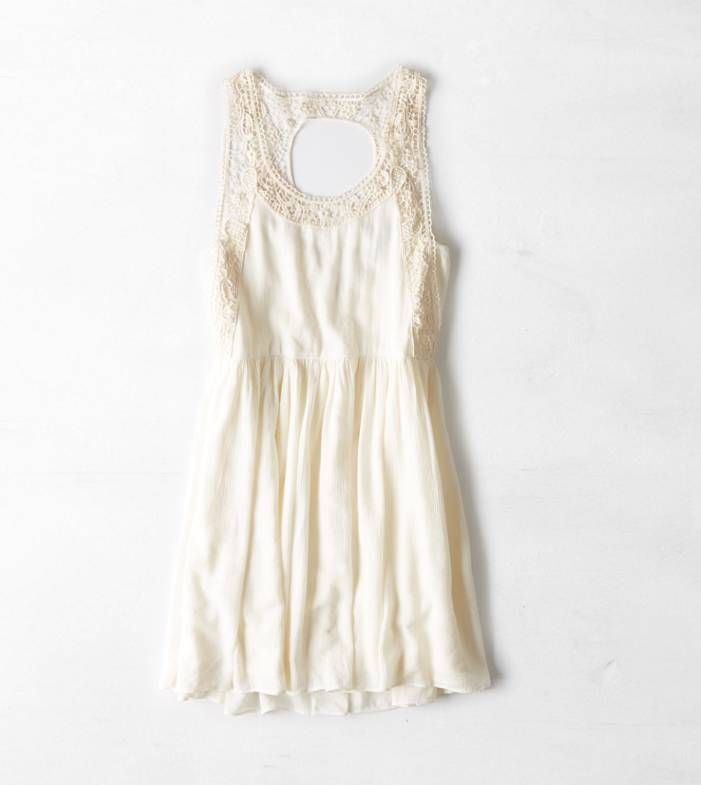 Cream AEO Lace Cutout Fit & Flare Dress