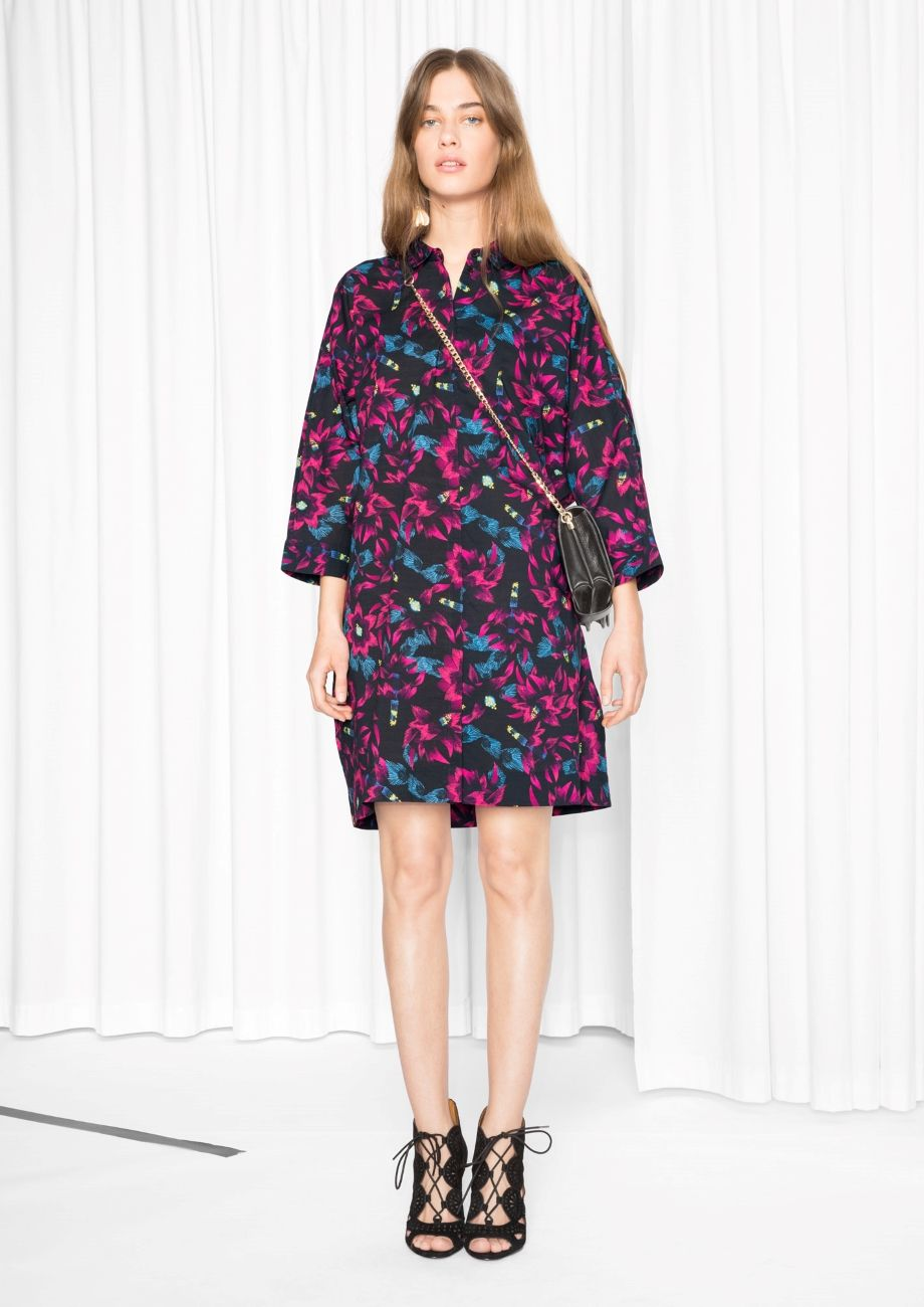 & Other Stories image 3 of Cotton Shirt Dress in Fuschia
