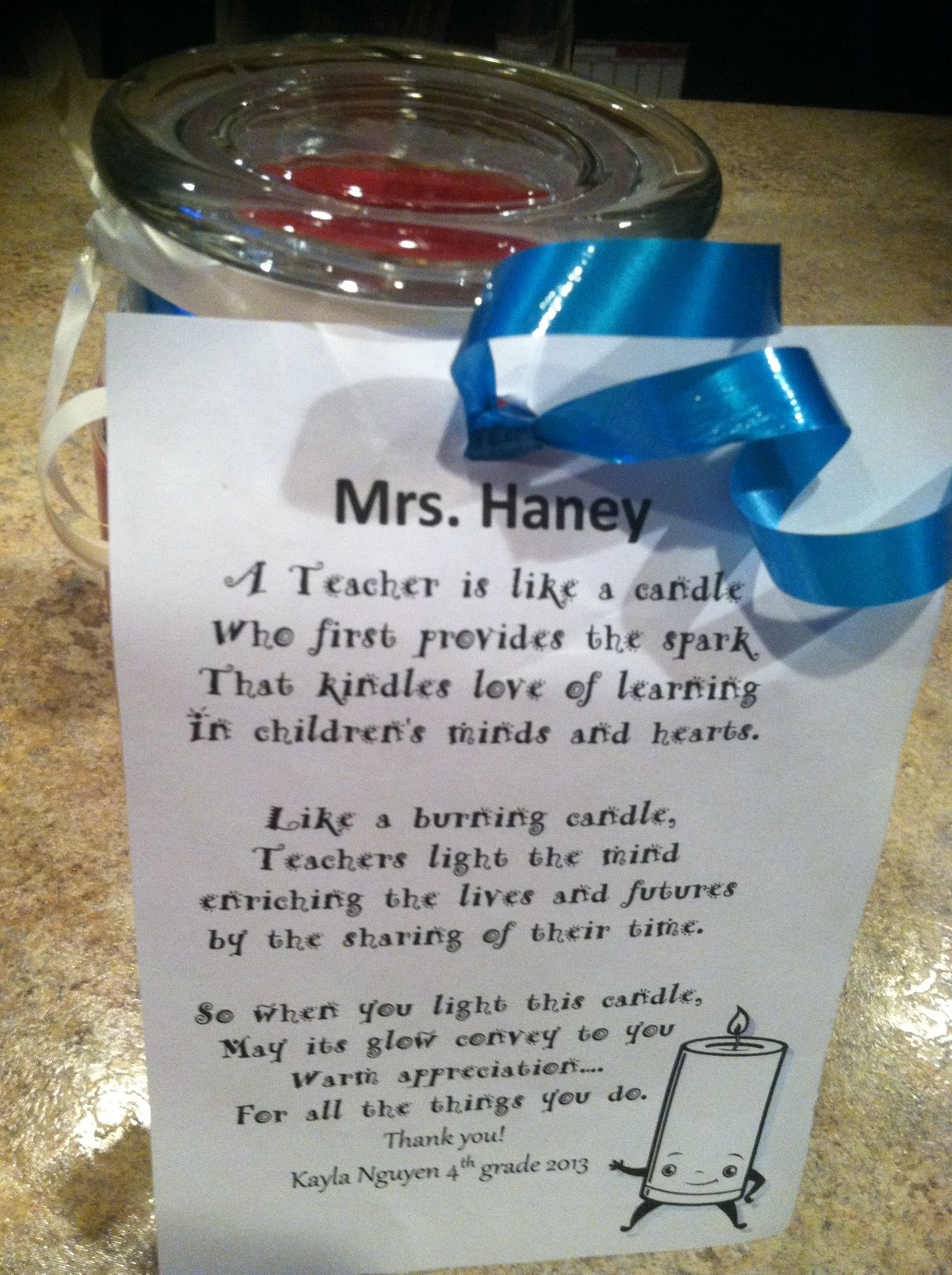 Poem Attached To Candle For Teacher T