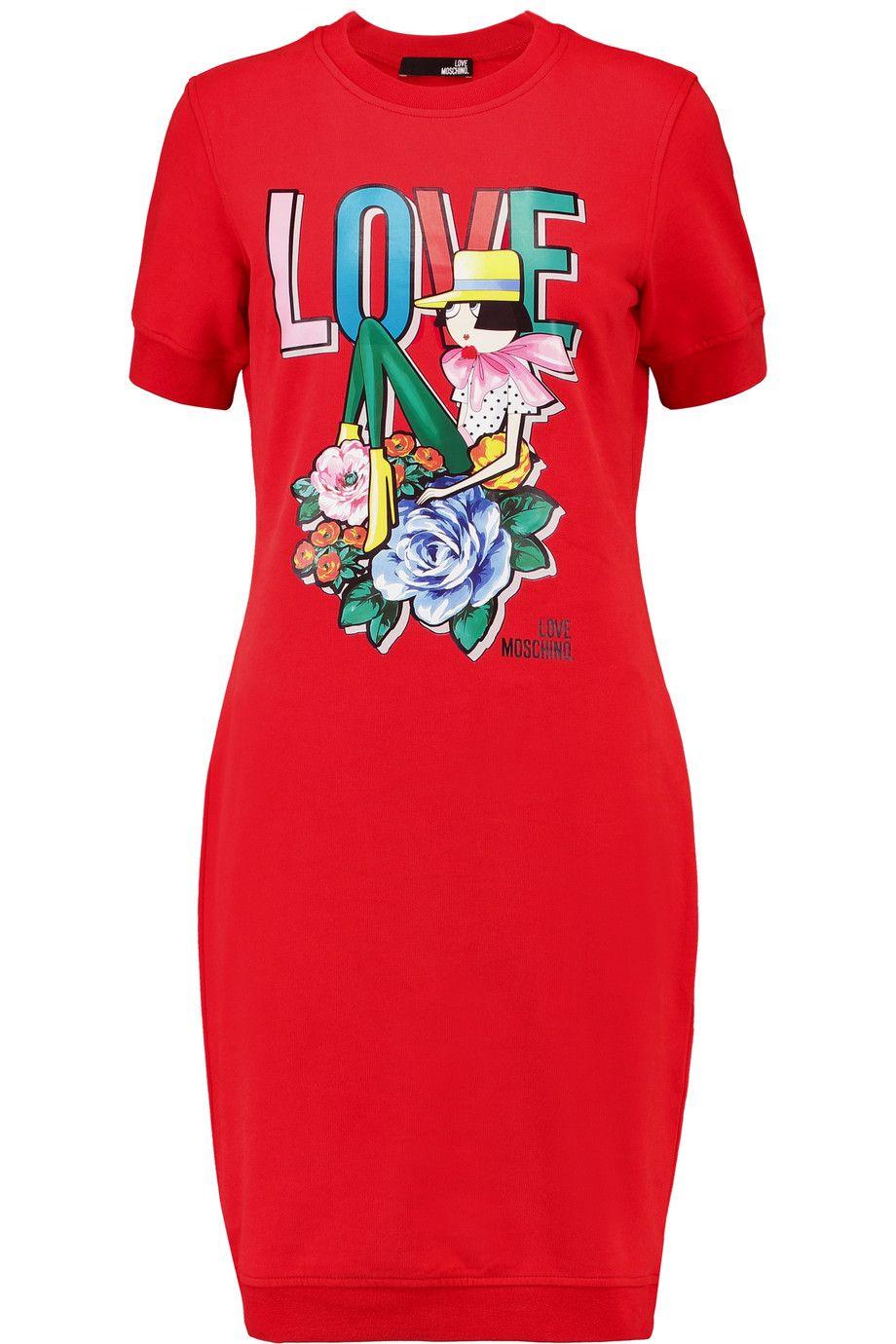 Love Moschino Woman Printed Stretch Cotton-jersey Mini Dress Blue Size 40 Love Moschino Discount Popular TXQXv