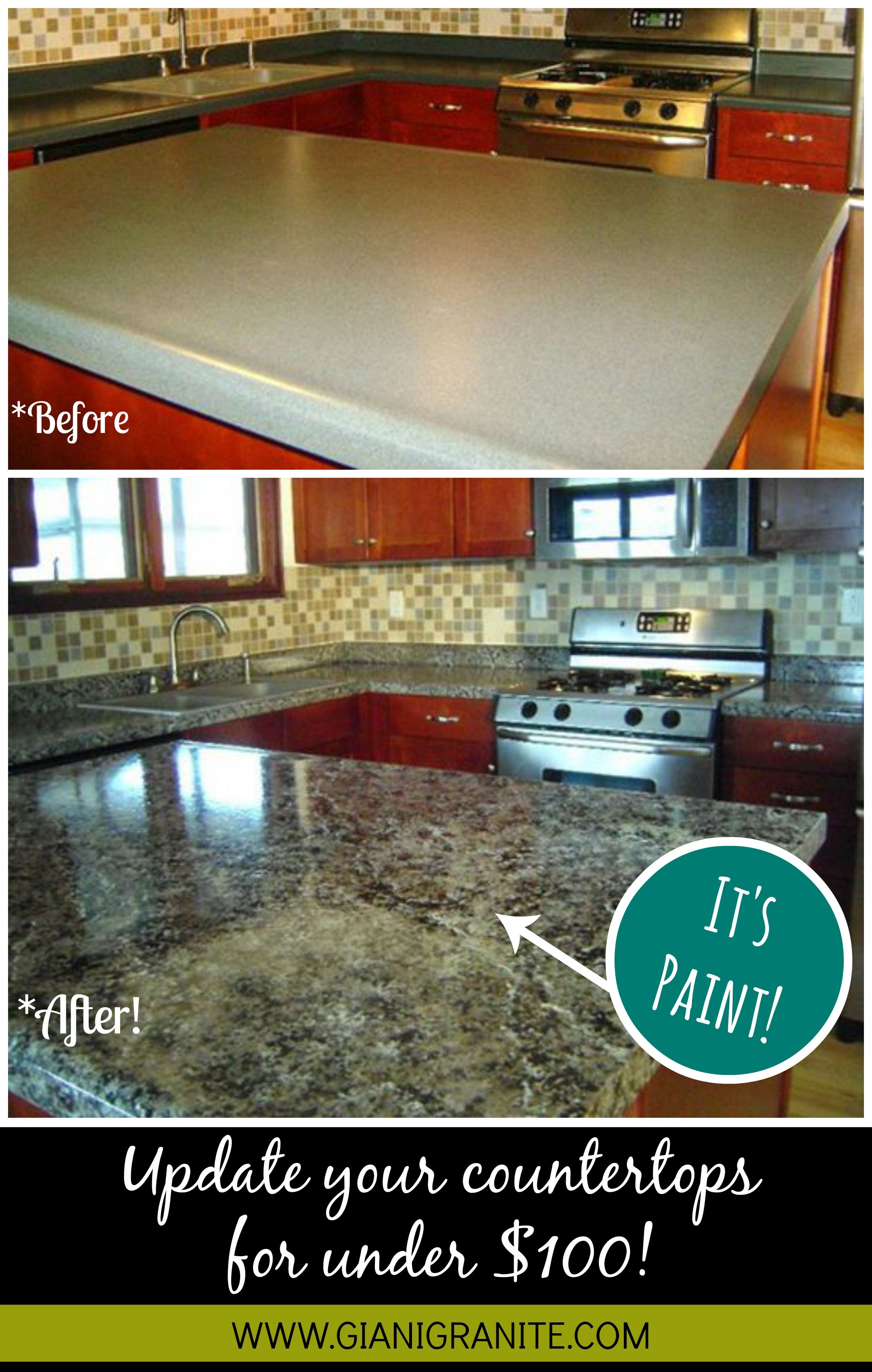 Affordable Countertop Makeover Paint That Looks Like Granite Diy Www Gianigranite Com Countertop Paint Kitchen Diy Makeover Home Countertop Makeover