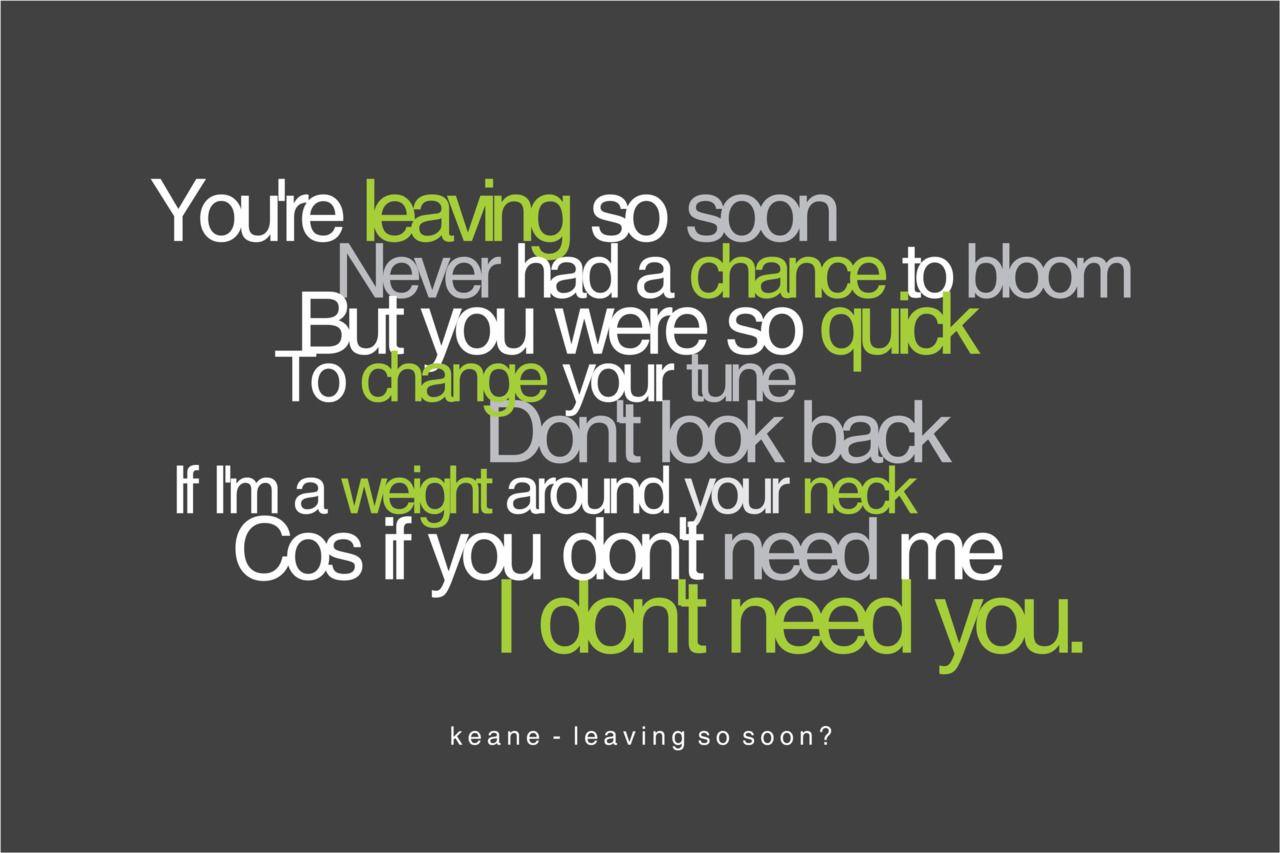 Keane Leaving So Soon Keane Music Lyrics With Images