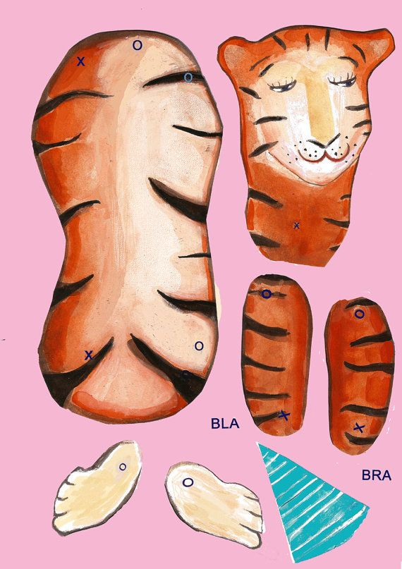 A tiger cut out and make puppet kit. by winitapp on Etsy