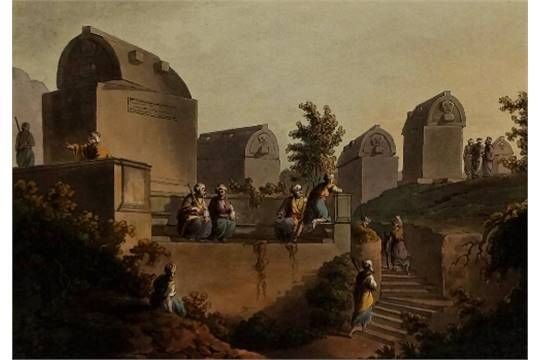 After Luigi Mayer Italian German 1755 1803 Sarcophagus Sepulchres At The Head Of The Harbour Antique Picture Frames Painting Luigi