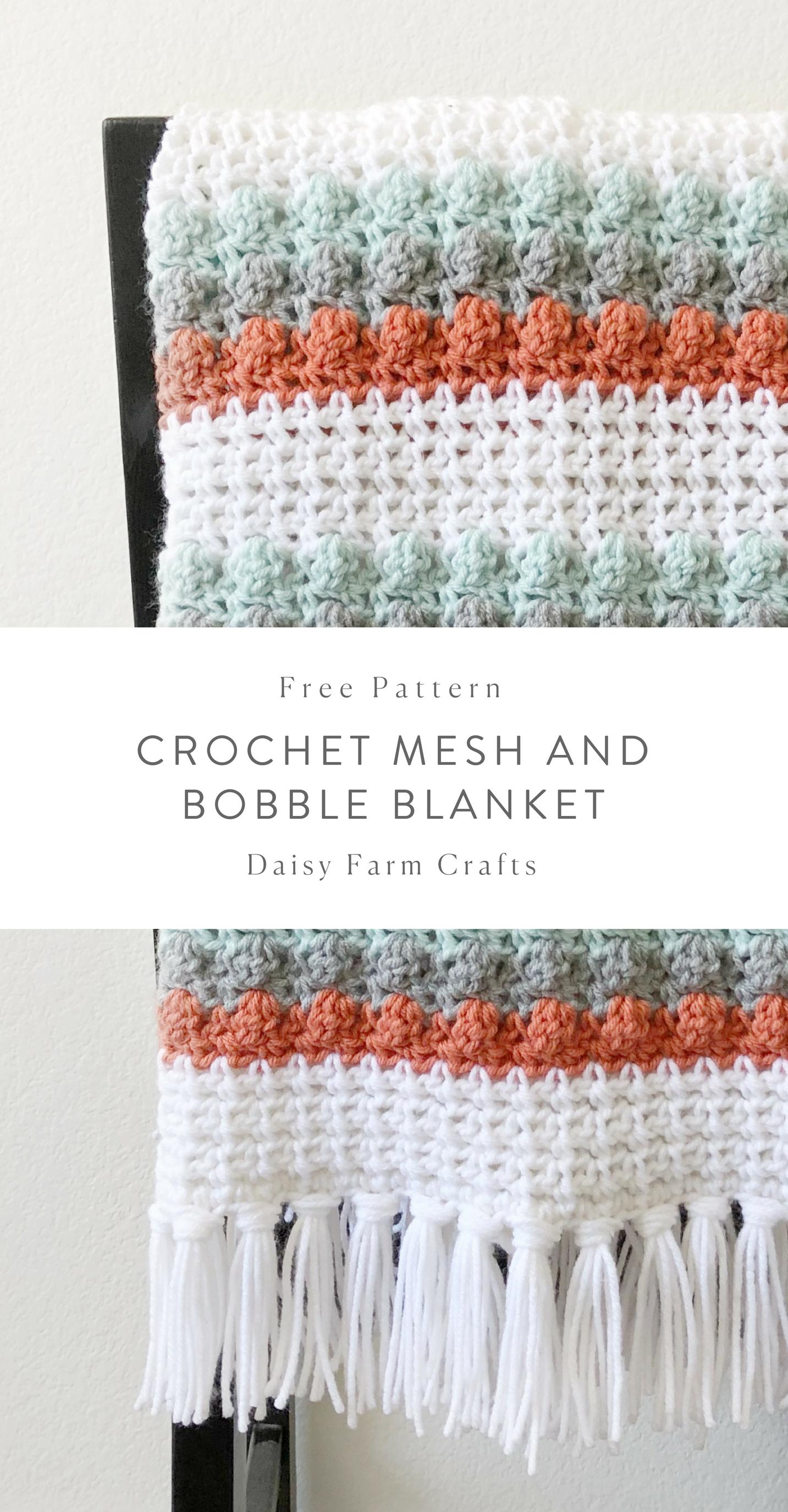 Free Pattern - Crochet Mesh and Bobble Blanket #crochet   crochet ...