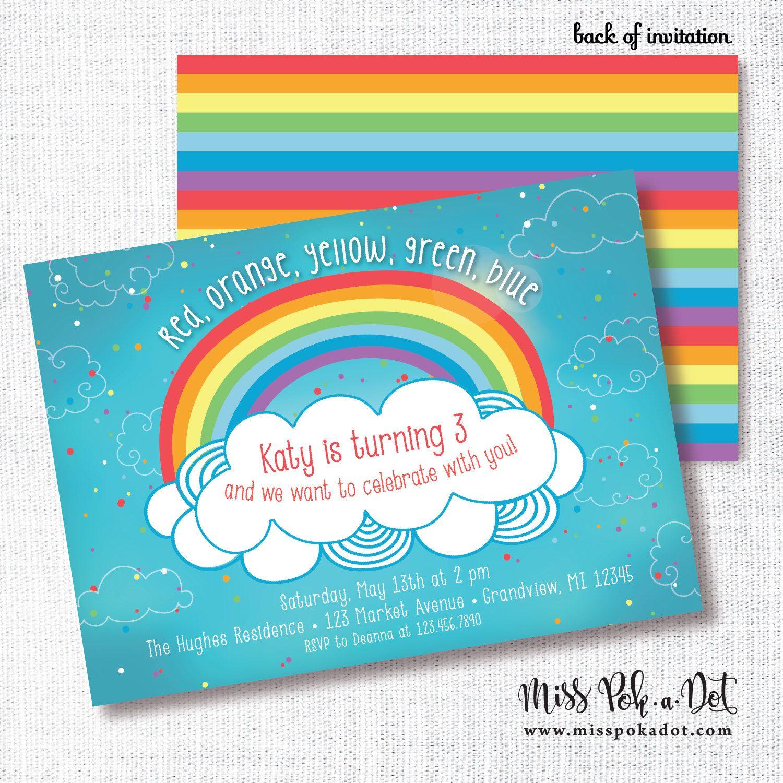 Rainbow Birthday Party Invitation, Printable, Over The Rainbow ...