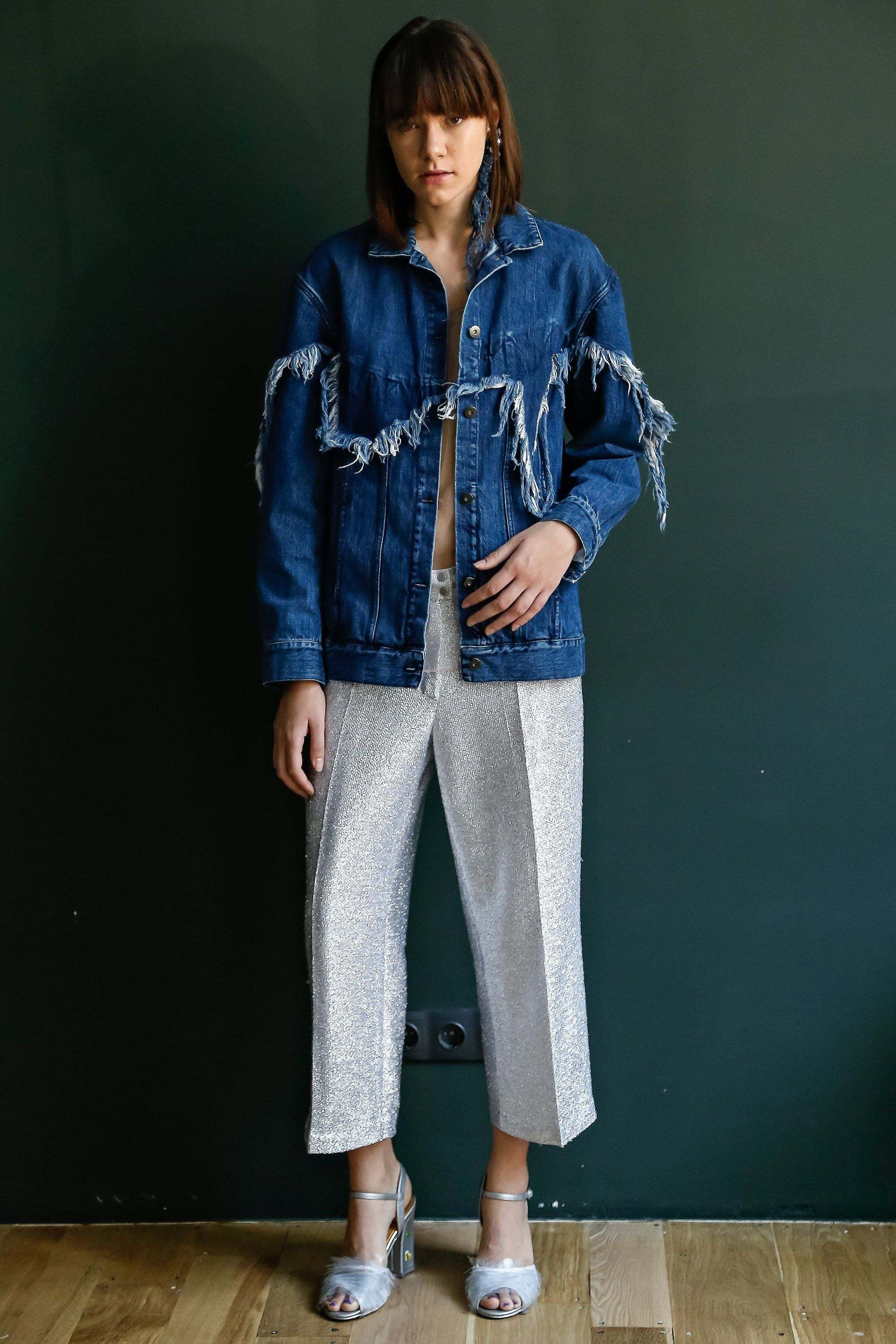 Fringed denim from the Bekh Spring 2017 Collection at Kiev Fashion Week.