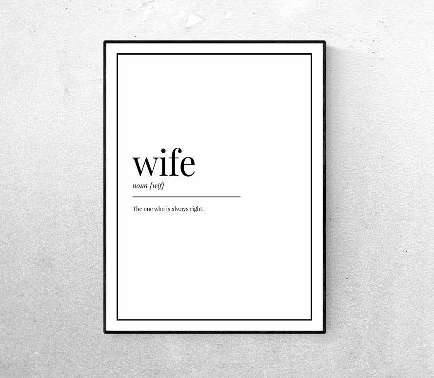 Wife definition wall art print home decor living room lounge bedroom kitchen design interiors minimal minimalist Scandinavian