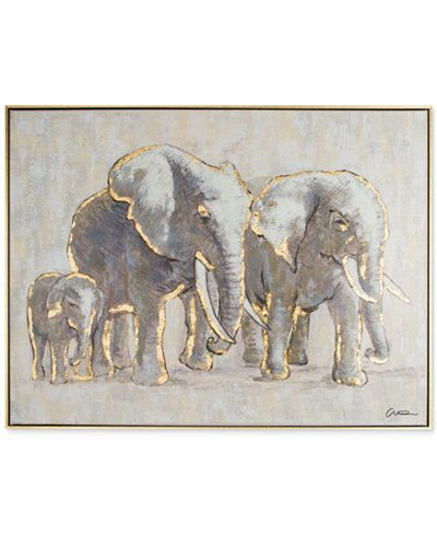 Good Graham U0026 Brown Metallic Elephant Family Handpainted Framed Canvas Wall Art    Wall Art   Macyu0027s