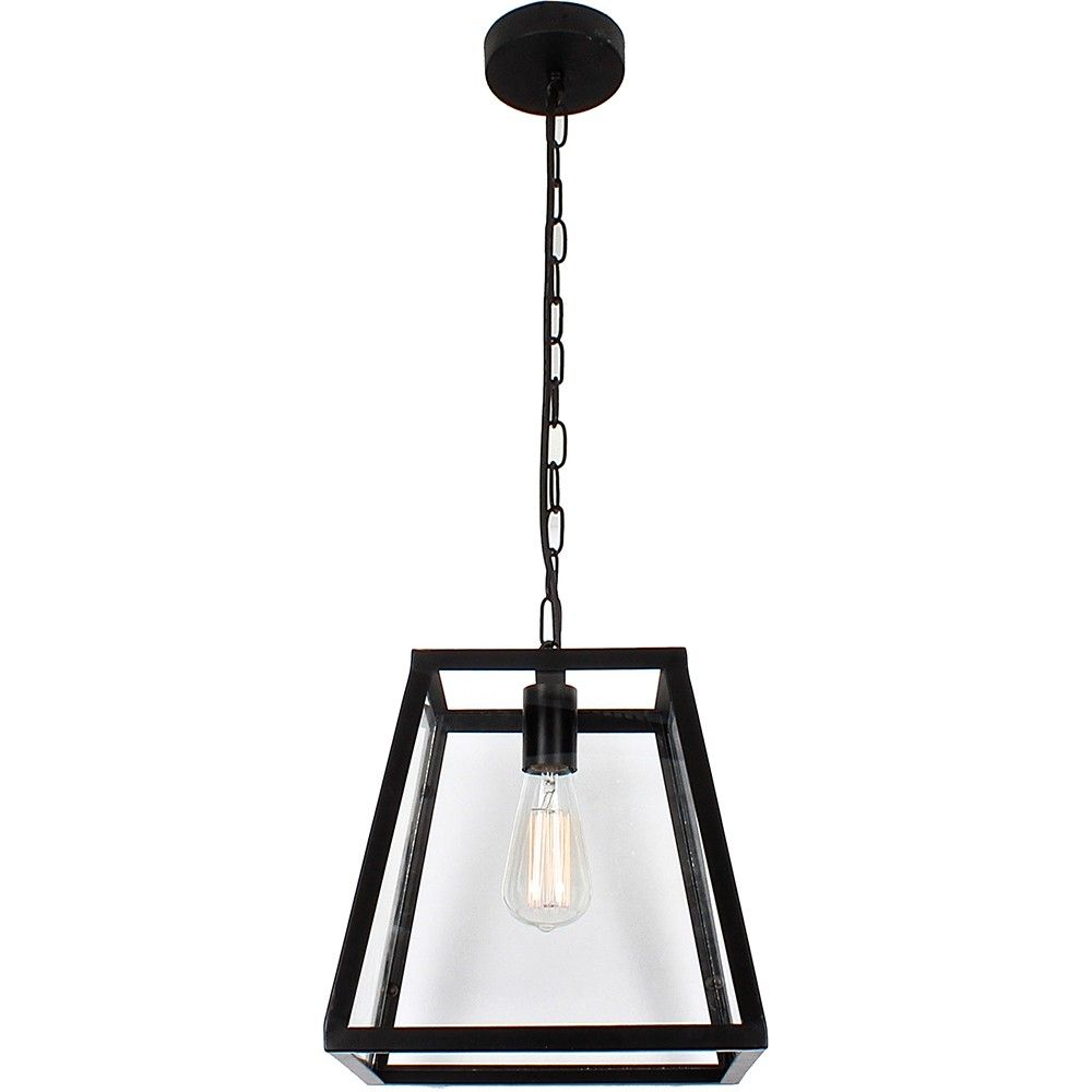 Black Frame Pendant Light Vintage Look With Matt And Clear Glass Diffusers Available In A Variety Of Sizes 1 Square 4