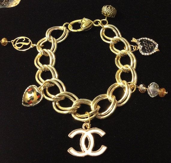 Beautiful Chanel Inspired Gold Tone Charm Bracelet Free Shipping