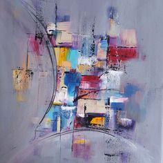 Peinture moderne acrylique multicolore gris rouge violet for Peinture gris mauve