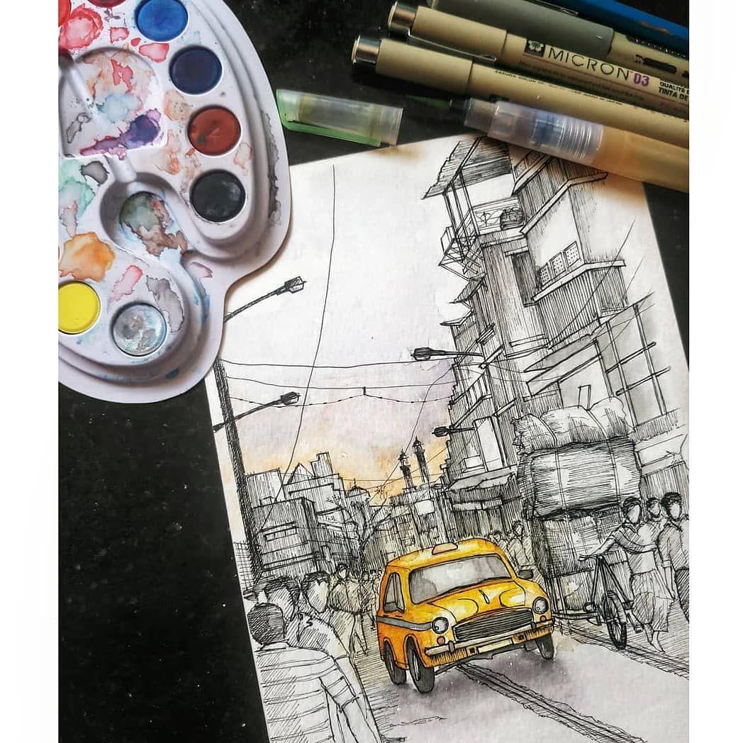 Dreamlike a taxi on the streets of kolkata based on