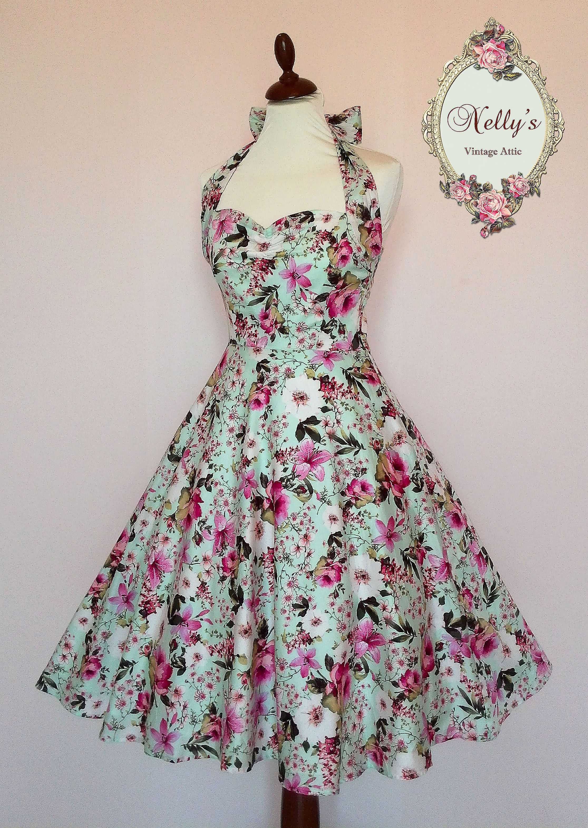 1950\'s Inspired Marilyn Pink Orchid & Dainty Daisy Dream Mint ...