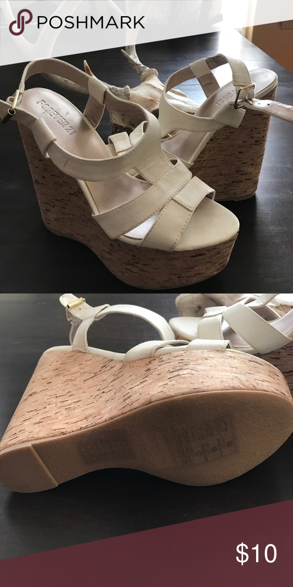 Cream Faux Leather F21 Wedge Sandals Never worn!! Forever 21