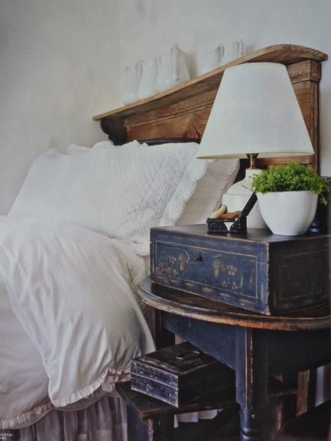 Clever use of a fireplace mantle as headboard.