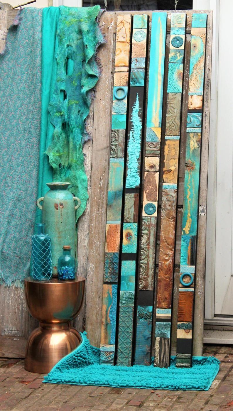 Mixed Media Blue Green Teal Turquoise Wood Tin Glazed Zuni RainDancer Collage BoHo New Age SouthWestern Santa Fe Sedona Indian Art Jewelry
