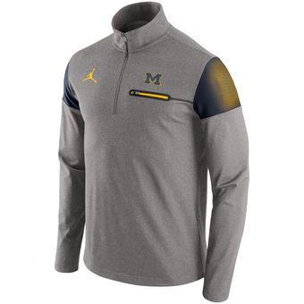 Brand Jordan Michigan Wolverines Nike Jumpman Gray 2016 Elite Coaches Dri- FIT Half Zip Jacket