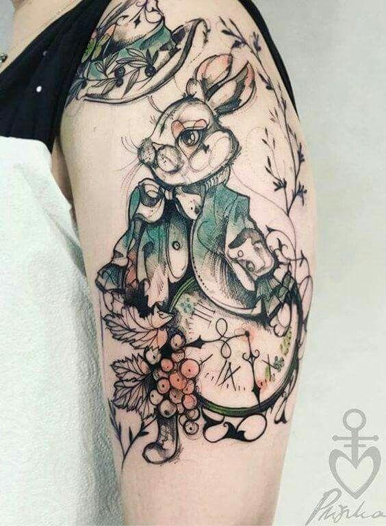 Love This Style Tatuagens De Coelho Tatuagem Alice No Pais Das