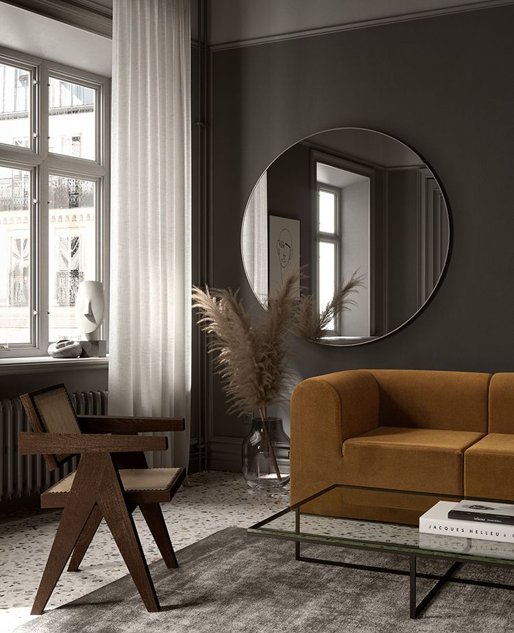 Contemporary dark gray living room with terrazzo floor images