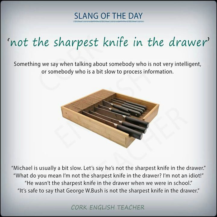 Not The Sharpest Knife In The Drawer Idioms And Phrases English Idioms Teaching Idioms