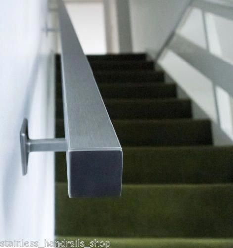Best Brushed Stainless Steel Metal Banister Stair Handrail Pre Assembled Square Rail Banisterremodel 400 x 300