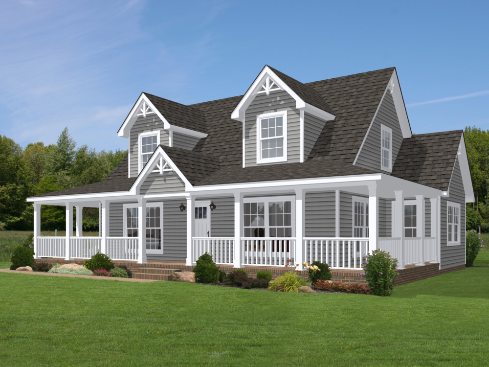 Shown with optional doghouse dormers 2 and site built Portico on cape cod house