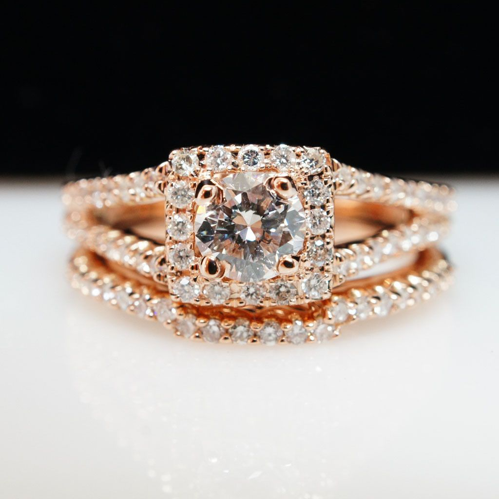Cttw natural round diamond square halo k rose gold engagement