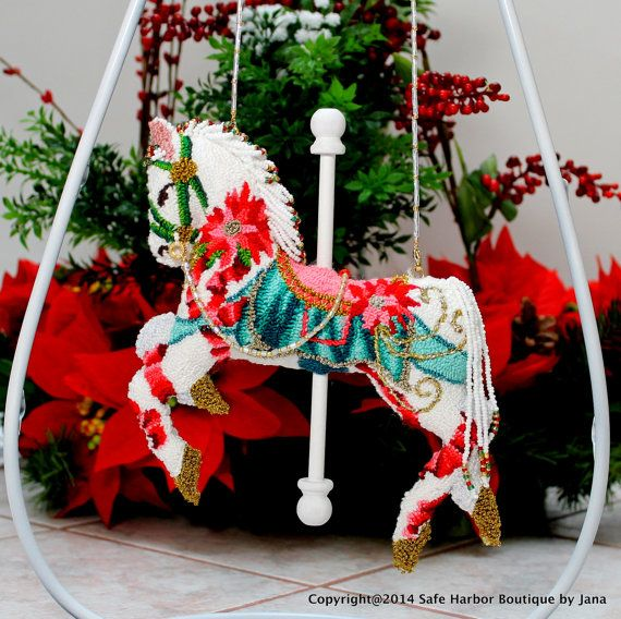 Christmas Carousel Horse OrnamentHorse by SafeHarborBoutique - christmas carousel decoration