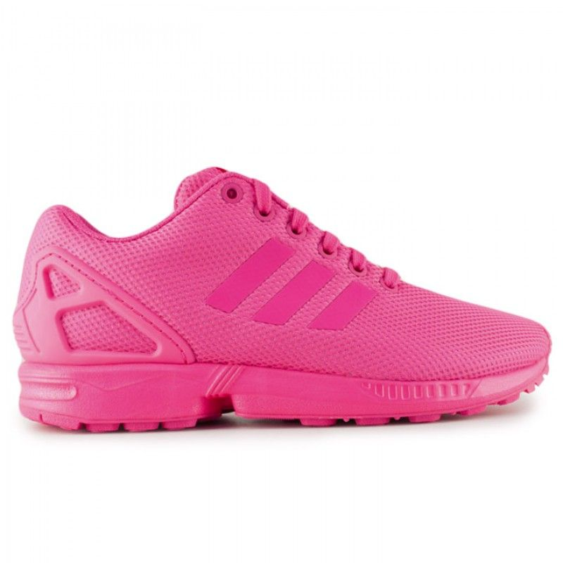 Run long distances with comfort in the Adidas ZX Flux Plus. This lightweight  running shoe sports a vibrant all pink mesh upper.