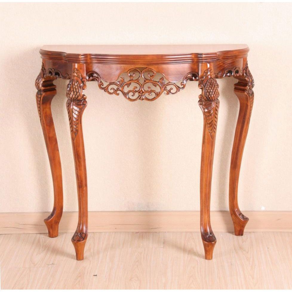 Hand Carved Rich Oak Wood Half Round Asian Style Living Room Console Sofa Table