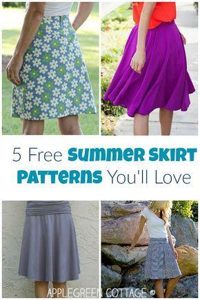 5 Free Summer Skirt Patterns You\'ll Love | Rock nähen, Rock und Nähen