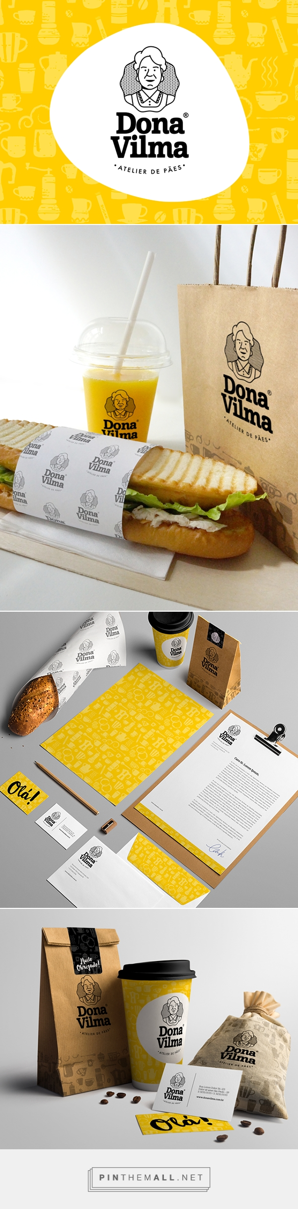 Visual identity Dona Vilma Bakery on Behance by Thiago Dias curated by Packaging Diva PD. It's time for lunch packaging.