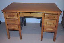 1930 S Oak Desk Vintage Office Writing