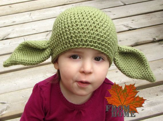 Yoda / Dobby the House Elf Crochet Hat - Baby, Toddler, Child, Adult ...