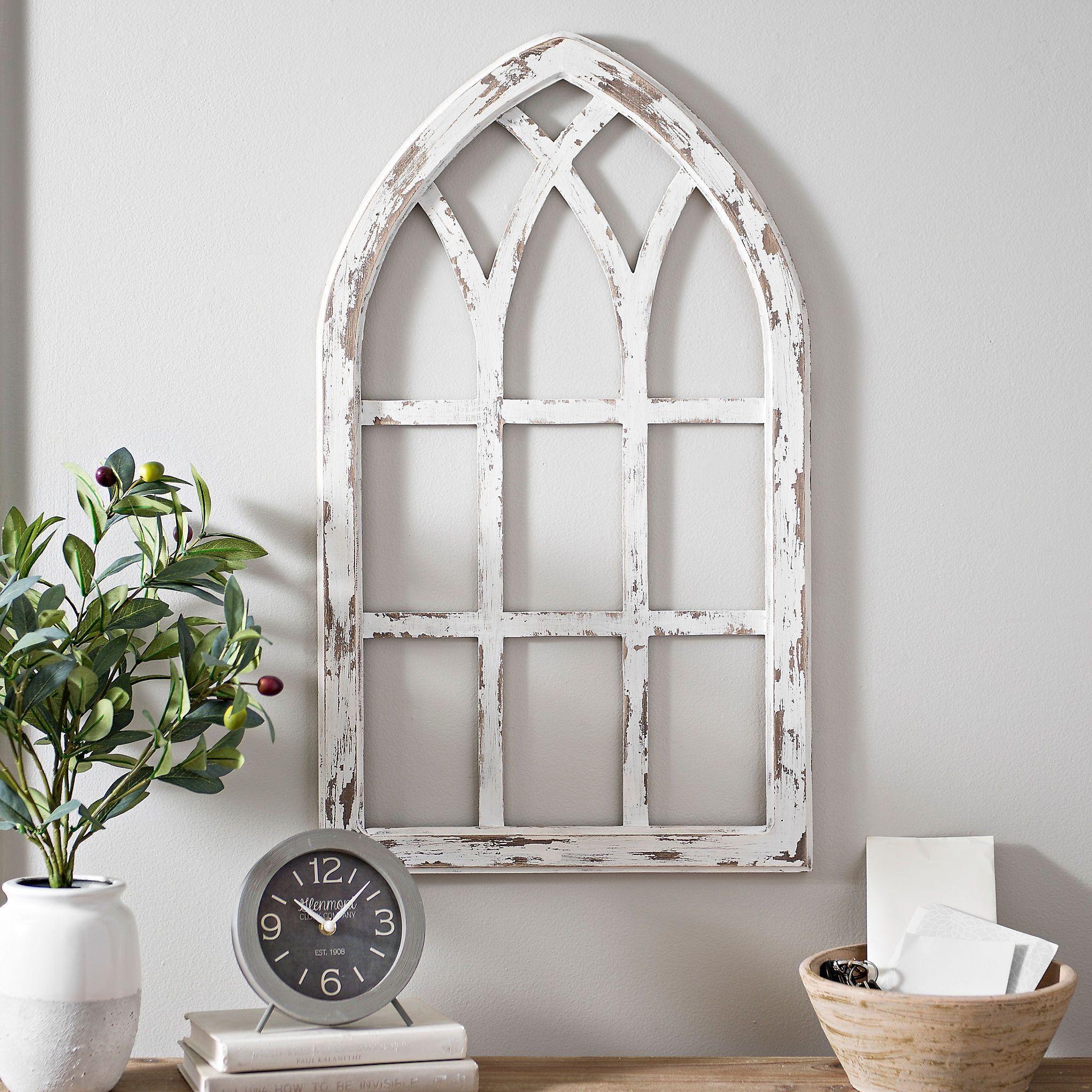 Antiqued White Window Pane Arch Plaque Window frame