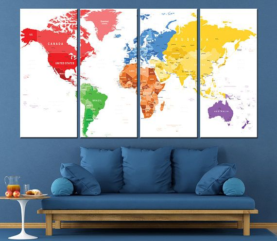 Large world map wall art with countries names canvas world map large world map wall art with countries names canvas printextra large detailed world map home decor world map canvas print ready to hang gumiabroncs Images