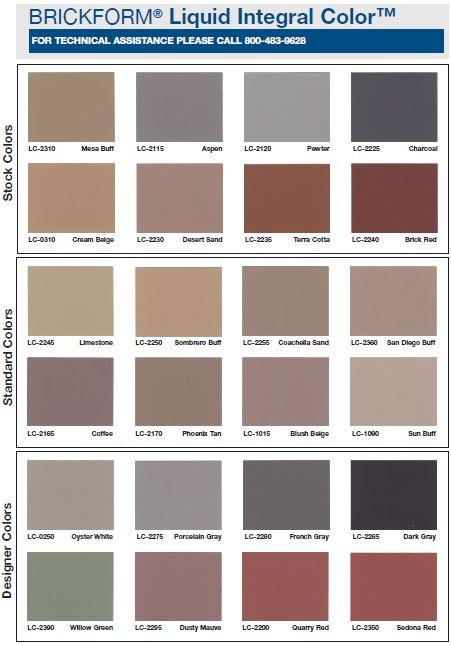 BRICKFORM\'S line of Liquid Integral Colors features over 20 ...