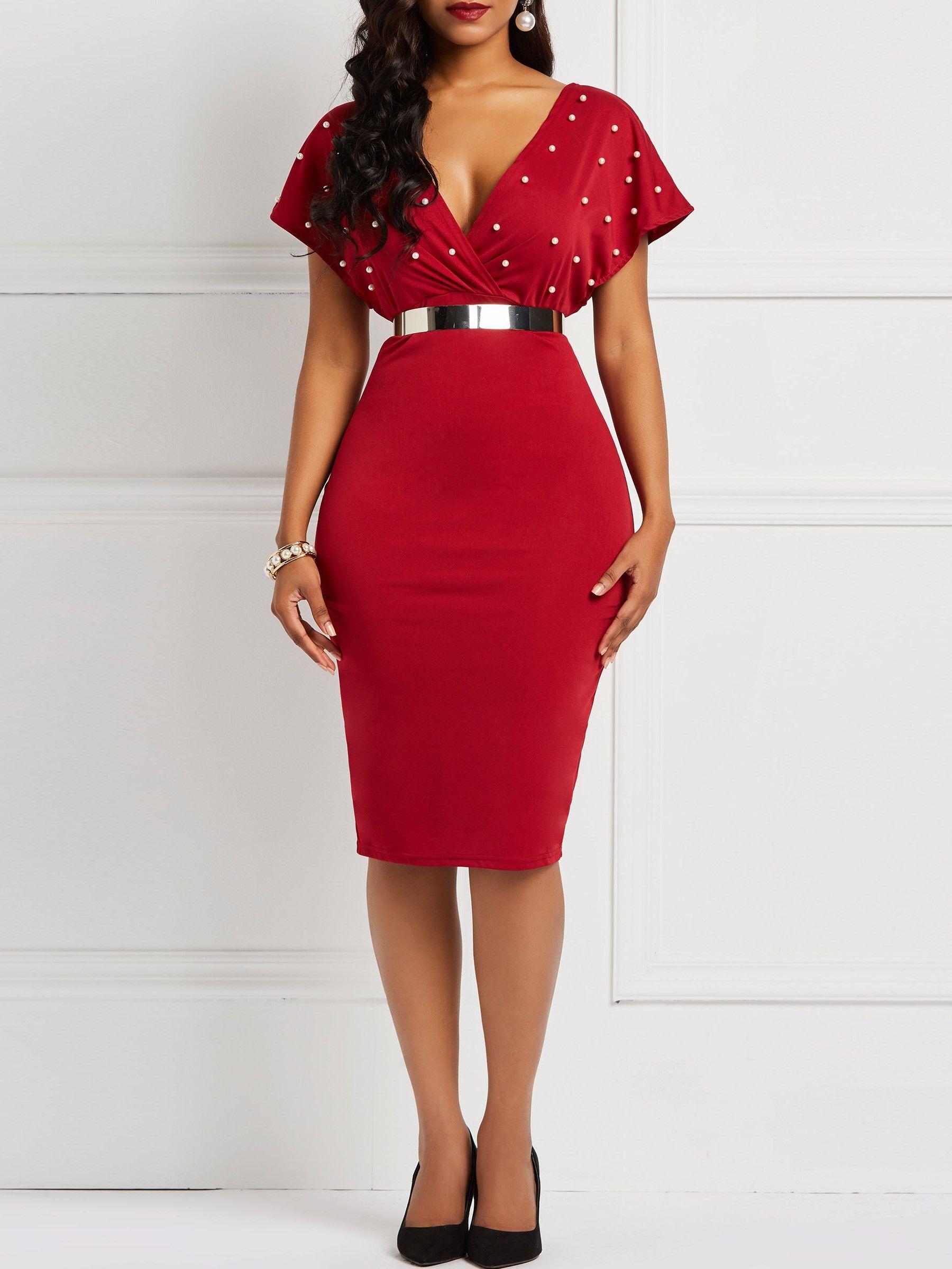 828e284658130 Bead V-Neck Bodycon Dress in 2019 | Sheinntrend's Dresses | Dresses ...