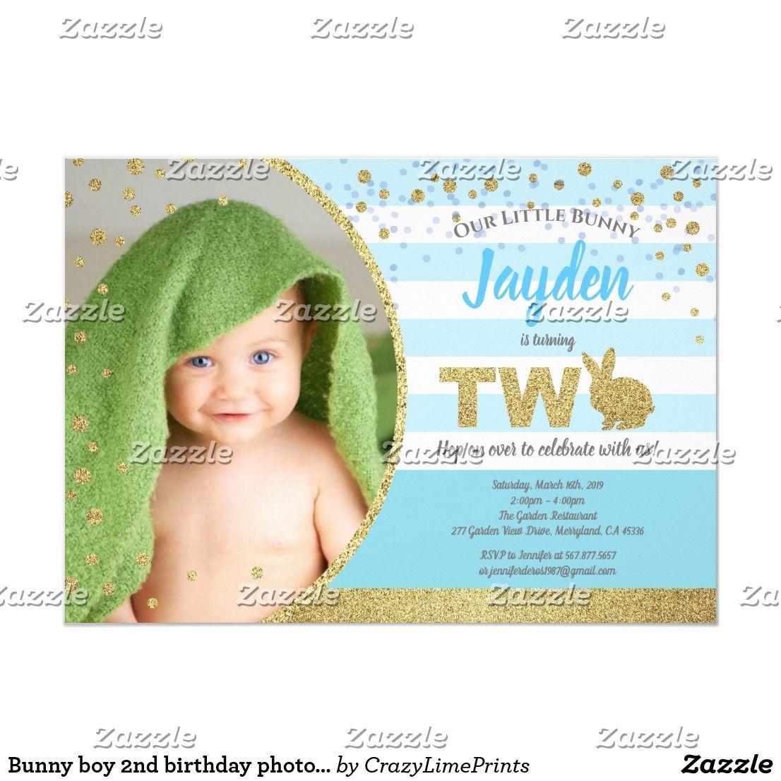 bunny boy 2nd birthday photo invitation
