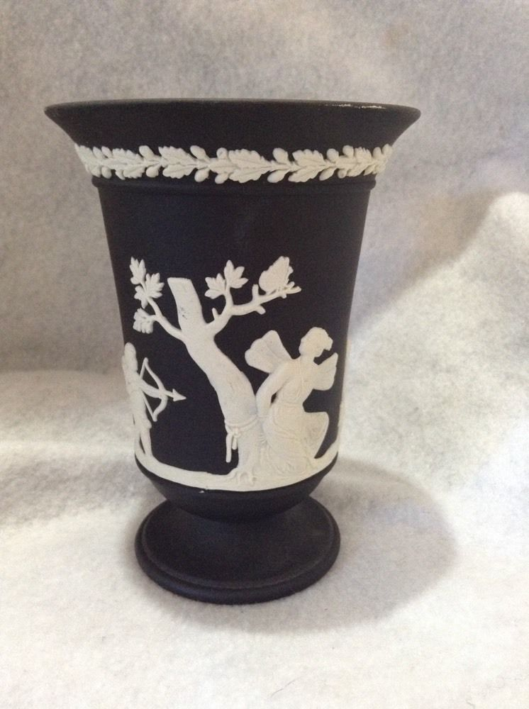 Wedgwood Black White Jasperware Urn Vase 55 Inches Tall
