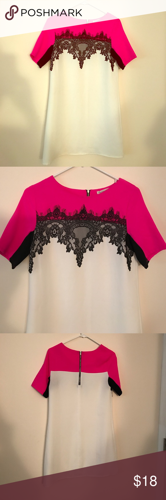 Chic dress White and pink dress with black lace accent Charlotte Russe Dresses
