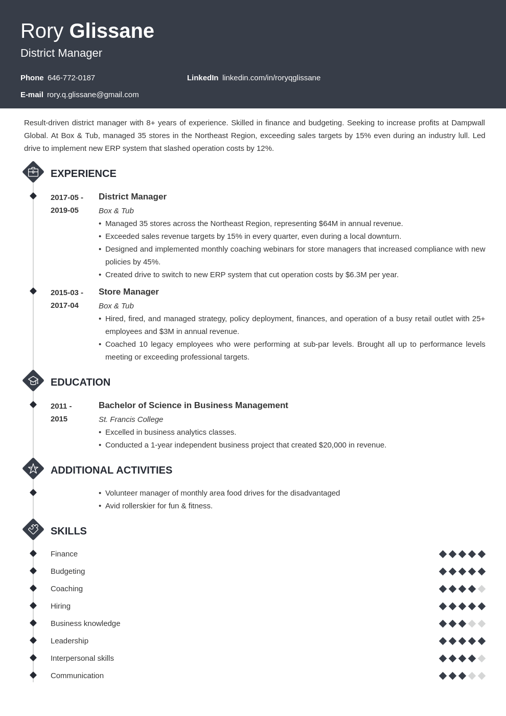 district manager resume example template diamond in 2020