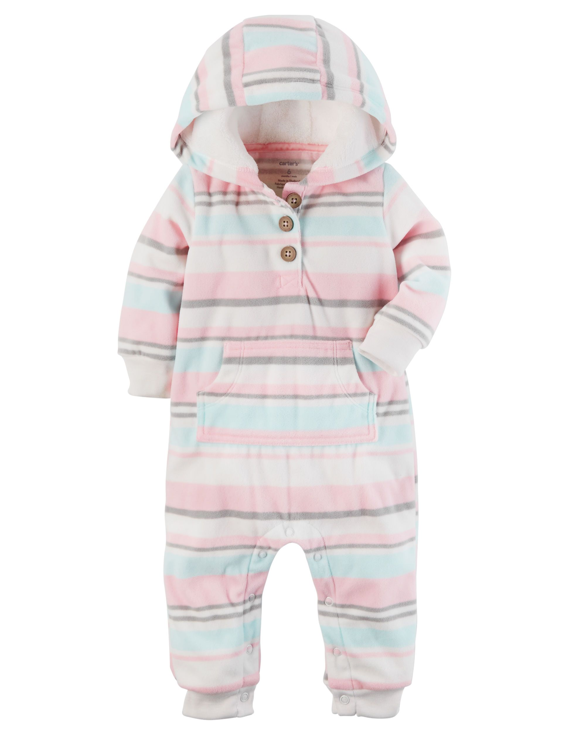 7c7c91f7a5f4 Baby Girl Hooded Fleece Jumpsuit