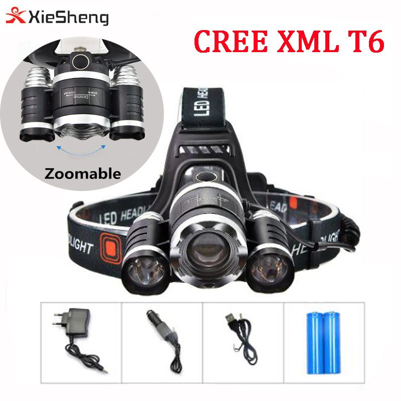Waterproof Led Headlight 3pcs Cree Xml T6 Led Head Light 5000lumen 4 Modes Zoom Headlamp Hunting Head Flashlight With Battery Waterproof Led Led Headlamp Led